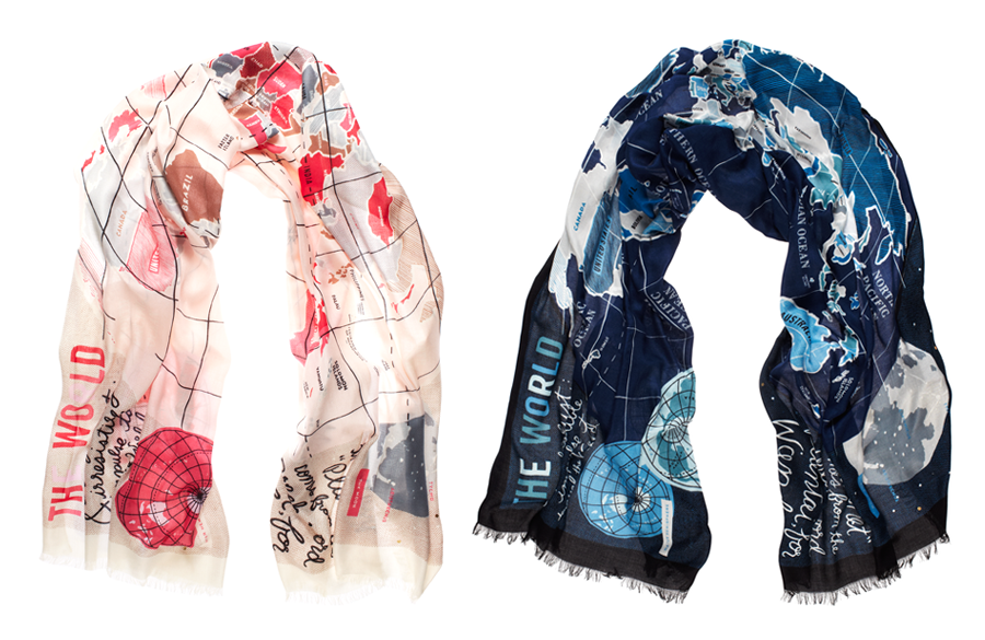 World map wendy chan design illustrations world map scarf designed for kate spade new york sciox Image collections