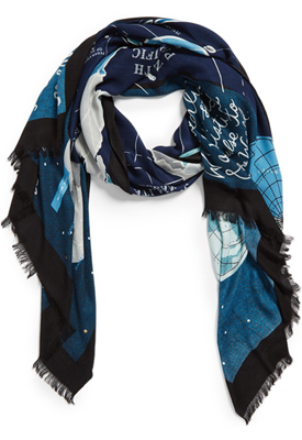 World map wendy chan design illustrations world map scarf designed for kate spade new york art director dana lucas index sciox Image collections